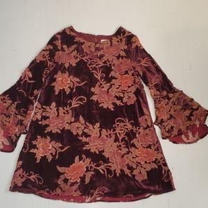 💜2/$24💜  Burgundy floral long sleeved mini dress